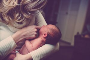 New Mom with her baby. Obsessive-compulsive disorder is high among new mothers.